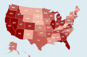 foreclosures rates by state